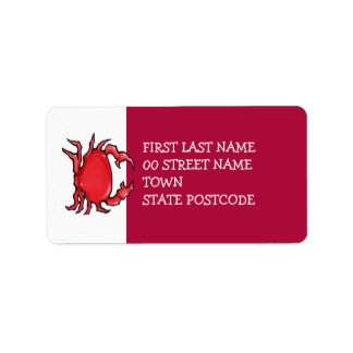 Red Crab red Address Label