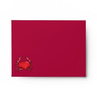 Red Crab red Note Card Envelope envelope