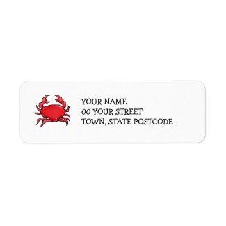 Red Crab Return Address Label label