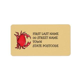 Red Crab sand Address Label label