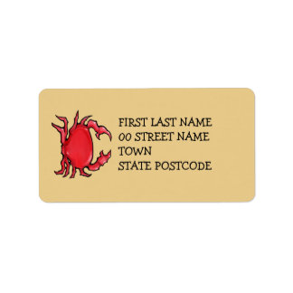Red Crab sand Address Label