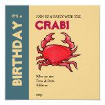 "Red Crab sand Birthday Invitation 5.25"" Square Invitation Card"