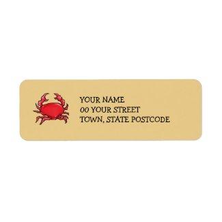 Red Crab sand Return Address Label label