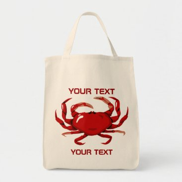 Professional Business Red Crab Template  Grocery Tote Bag