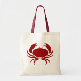 Red crab tote bags