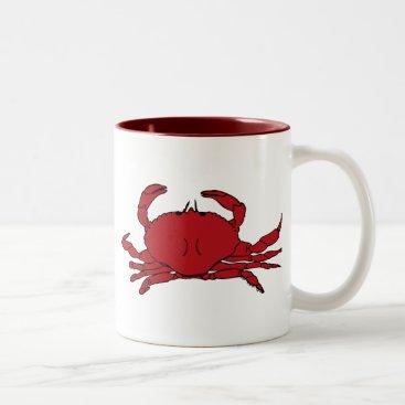Beach Themed Red Crab Two-Tone Coffee Mug