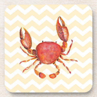 Red crab watercolor painting over yellow chevron beverage coaster
