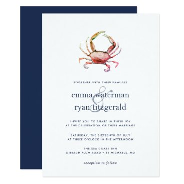 Beach Themed Red Crab Wedding Invitation