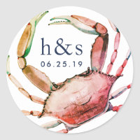 Red Crab Wedding Monogram Classic Round Sticker