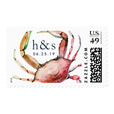 Beach Themed Red Crab Wedding Monogram Postage