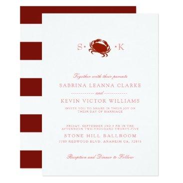 Beach Themed Red Crab | White Wedding Invitation
