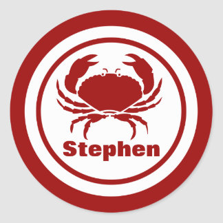 Red Crab with Name Classic Round Sticker