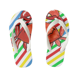 Red Crab with Stripes on Kids Flip Flops