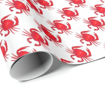 Beach Themed Red Crabs Maryland Crab Beach Ocean Gift Wrap