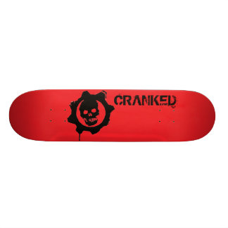 Red Cranked Skateboard Deck with Black