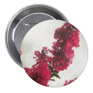 Red Crape Myrtle Impasto 3 Inch Round Button