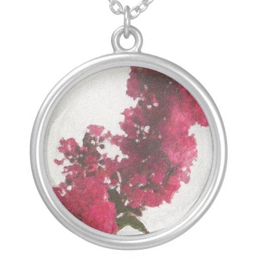 Red Crape Myrtle Impasto Custom Necklace