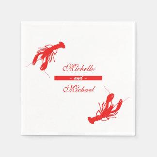 Red Crawfish Lobster Cocktail Napkins