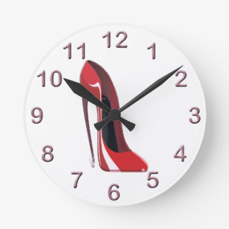 Red Crazy Heel Stiletto Shoe Art Round Clock