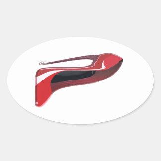 Red Crazy Heel Stiletto Shoe Art Oval Sticker