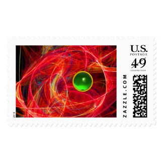 RED CRAZY PHOTON WITH GREEN EMERALD GEMSTONE POSTAGE
