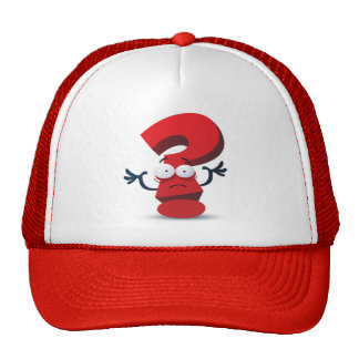 red crazy questionmark trucker hat