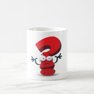 red crazy questionmark classic white coffee mug
