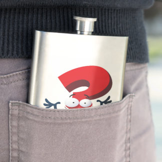 red crazy questionmark flask