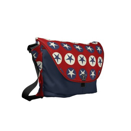 Red, Cream and Blue Stars Rickshaw Messenger Bag