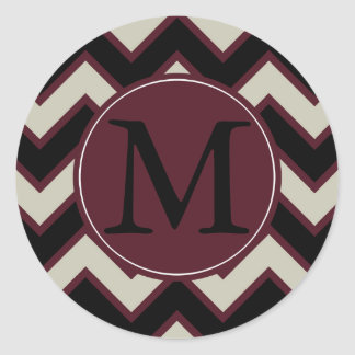 Red Cream Black Chevron Monogram Classic Round Sticker