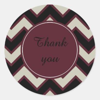 Red Cream Black Chevron thank you Classic Round Sticker