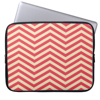 "Red/Cream Chevron Pattern 15"" Laptop Sleeve"