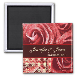 Red Cream Chocolate Wedding Lace Rose Bouquet Magnet