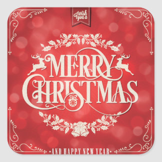 Red & Cream Christmas & New Year Greeting Square Sticker