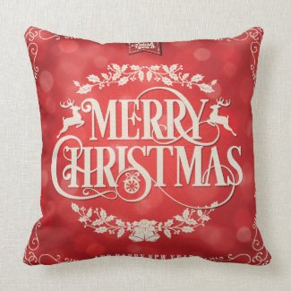 Red & Cream Christmas & New Year Greeting Throw Pillow