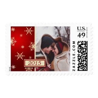 Red & Cream Christmas Snowflakes Custom Photo Postage