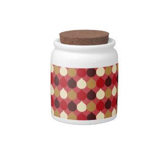 Red Cream Geometric Ikat Teardrop Circles Pattern Candy Jar