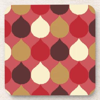 Red Cream Geometric Ikat Teardrop Circles Pattern Coaster