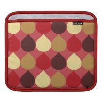 Red Cream Geometric Ikat Teardrop Circles Pattern iPad Sleeve