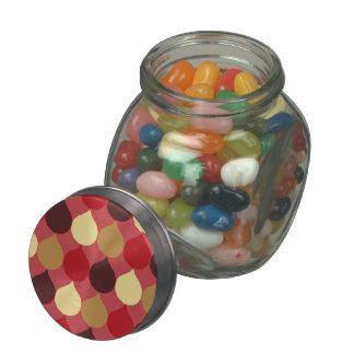 Red Cream Geometric Ikat Teardrop Circles Pattern Jelly Belly Candy Jars