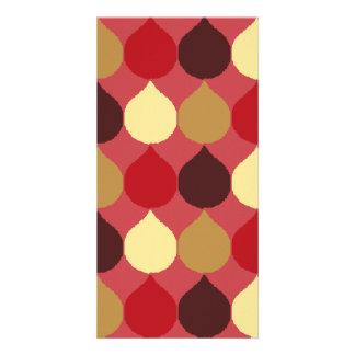 Red Cream Geometric Ikat Teardrop Circles Pattern Photo Card Template