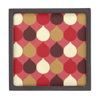 Red Cream Geometric Ikat Teardrop Circles Pattern Premium Trinket Box