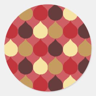 Red Cream Geometric Ikat Teardrop Circles Pattern Round Stickers