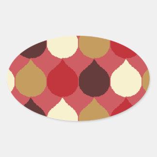 Red Cream Geometric Ikat Teardrop Circles Pattern Oval Stickers