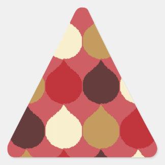 Red Cream Geometric Ikat Teardrop Circles Pattern Triangle Sticker