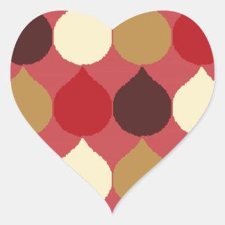 Red Cream Geometric Ikat Teardrop Circles Pattern Heart Stickers