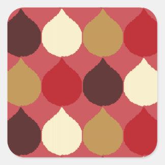 Red Cream Geometric Ikat Teardrop Circles Pattern Square Stickers