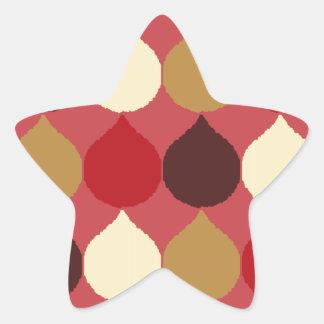 Red Cream Geometric Ikat Teardrop Circles Pattern Star Sticker