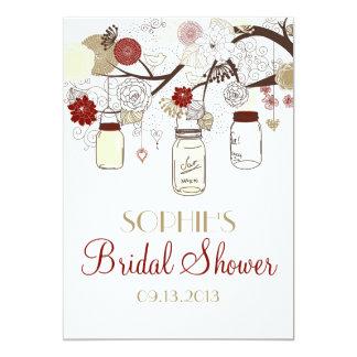 Red & Cream Mason Jars Bridal Shower Invitation