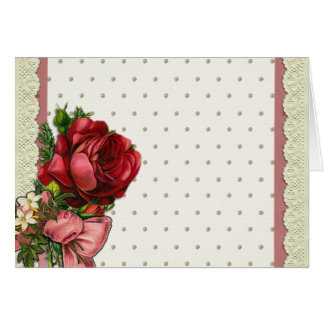 Red & cream rose bouquet with lace card